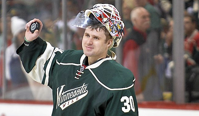 Minnesota Wild goalie Ilya Bryzgalov greets the crowd after he was named on of the players of the game after shutting out the Blackhawks, 4-0, at Xcel Energy Center in St. Paul on Tuesday, May 6, 2014. (Pioneer Press: Ben Garvin)